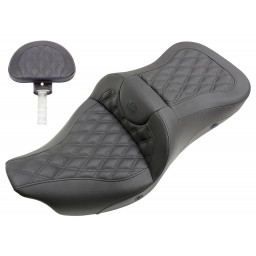 2008-2020 FLHR, FLHT, FLHX & FLTR Heated Extended Reach Roadsofa™ LS Seat with Driver's Backrest