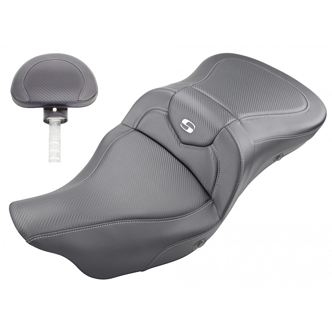 2009-2021 FLHTCUTG Tri Glide Heated Roadsofa™ CF Seat with Driver's Backrest
