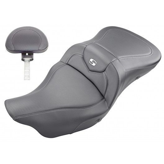 2008-2020 FLHR, FLHT, FLHX & FLTR Heated Extended Reach Roadsofa™ CF Seat with Driver's Backrest